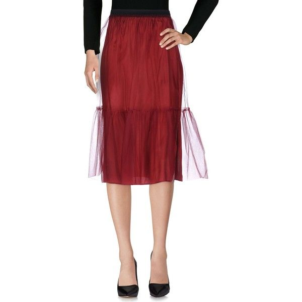 Jucca 3/4 Length Skirt ($61) ❤ liked on Polyvore featuring skirts, maroon, red skirt, red tulle skirt, red knee length skirt, knee length tulle skirt and maroon tulle skirt