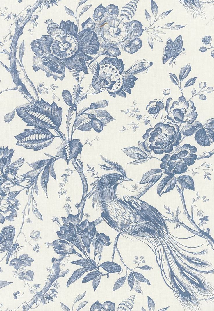 Schumacher Fabric Birds Of Paradise Blue 1048044