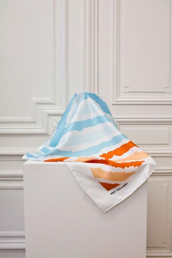 PEET DULLAERT | Shop Online - Signature print silk scarf - Orange/Blue