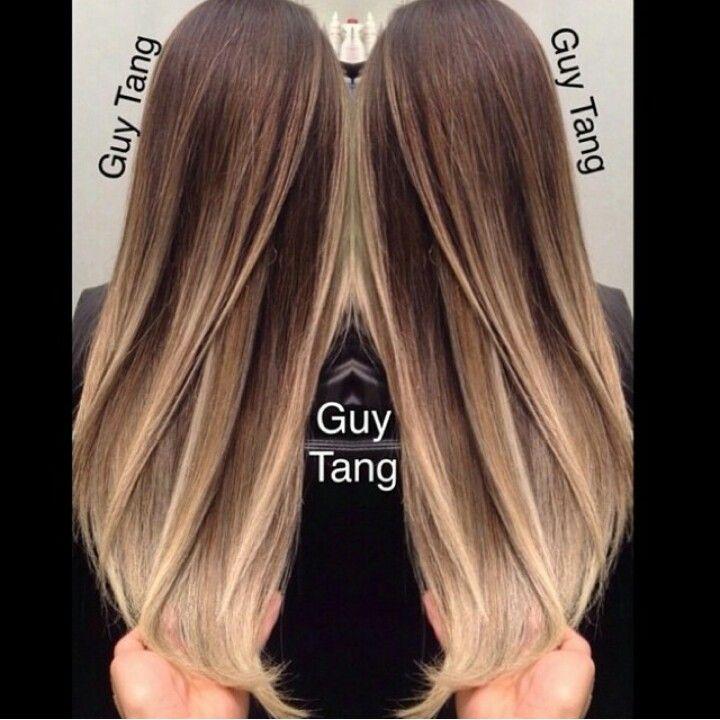 Окрашивание балаяж на темные прямые волосы