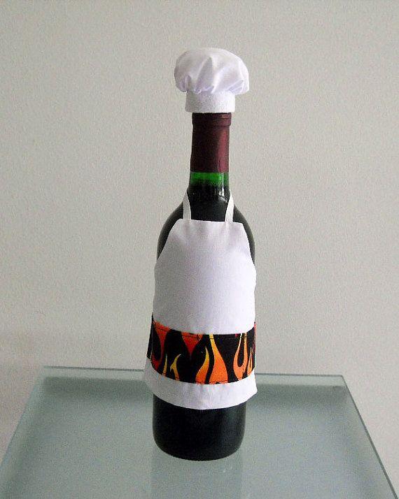 Wine Bottle Or Liquor Bottle Cover  BBQ Chef Wine by KMSORIGINAL, $15.00