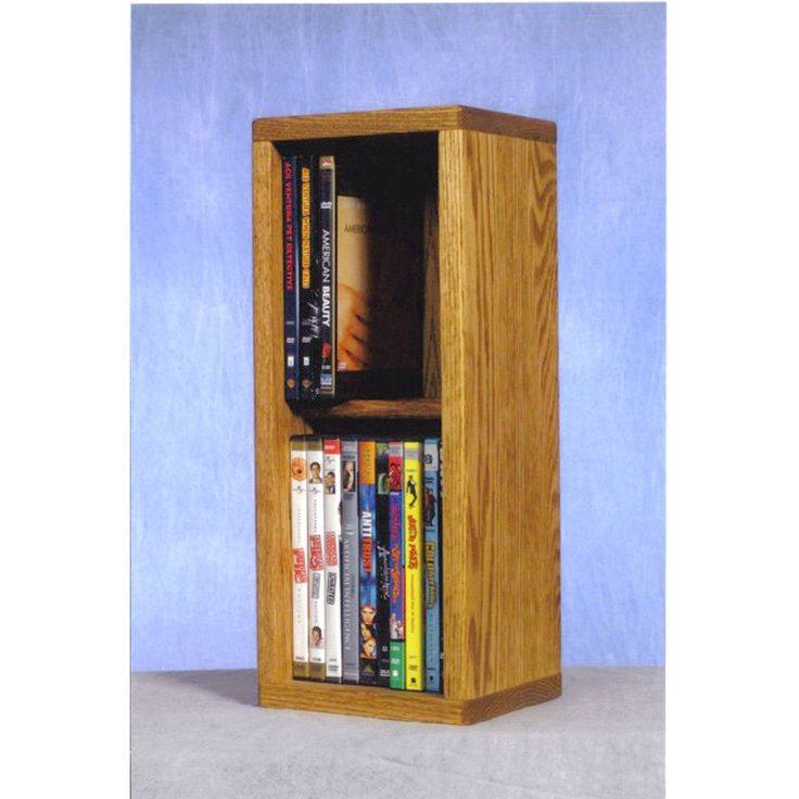 The Wood Shed Solid Oak 2 Row Dowel CD / DVD Combination Media Rack - 7 in. Wide Honey Oak - 215 COMBO