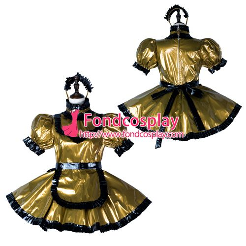 Sissy maid pvc dress lockable Uniform cosplay costume Tailor-made[G2356]
