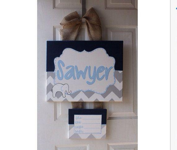 Baby door hanger hospital door sign by DoodlesbyTrista on Etsy, $45.00