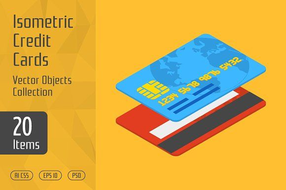 Isometric Credit Cards by Graphic Warehouse on Creative Market