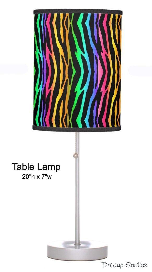 Girls Desk Lamp Rainbow Zebra Animal Print Table Lamp Shade