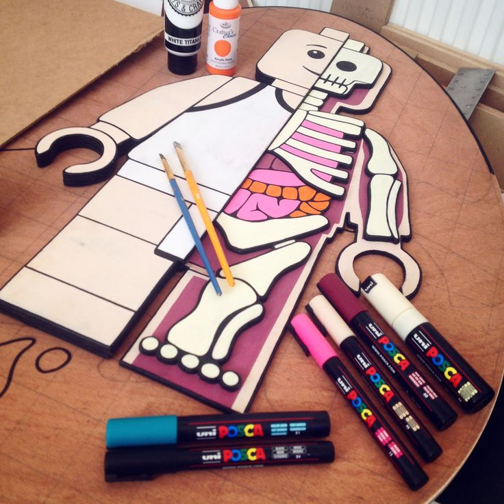 3D anatomical LEGO figure. Based on an original sculpture by Jason Freeny. Acrylic paint and markers on plywood.