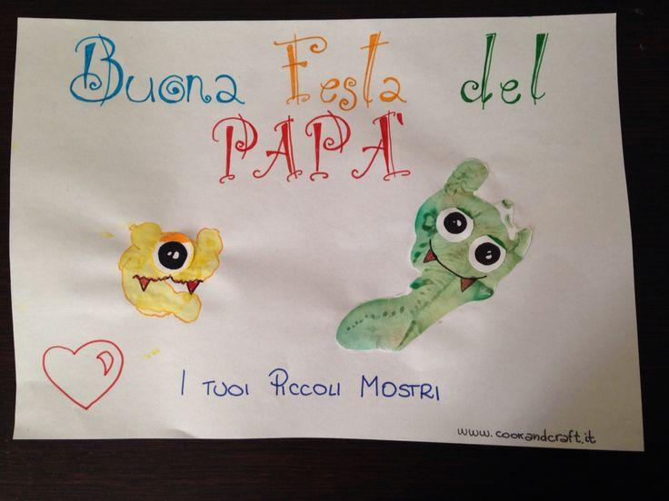 Festa del papà, disegni con mani e piedi, idee da fare con i bambini - father's Day ideas - http://www.cookandcraft.it/festa-del-papa-idee-lavoretti/