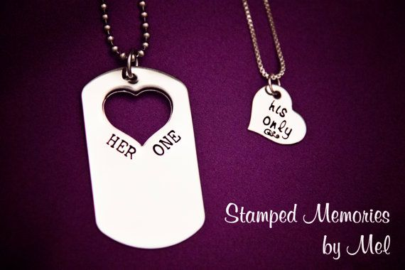 Her One, His Only Dog Tag Set - The Original - Hand Stamped Couples Jewelry - Necklace Set - Custom Made - Gift for Couple, Newlyweds. $40.00, via Etsy.