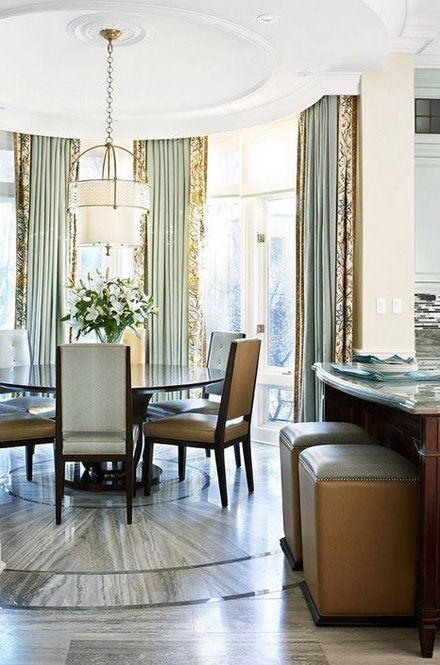 banded floor to ceiling drapes for bay window.