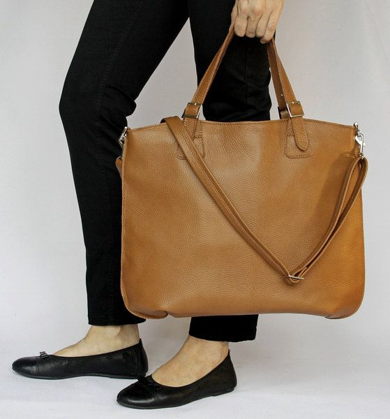 Simple Comfortable Leather Tote Dark Camel Shopping by olalabags