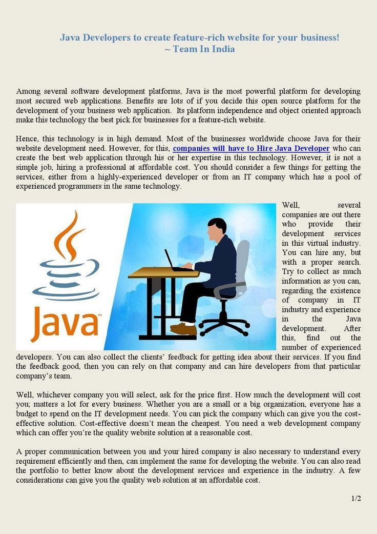 Java Developers to create feature-rich website for your business ! | Team In India