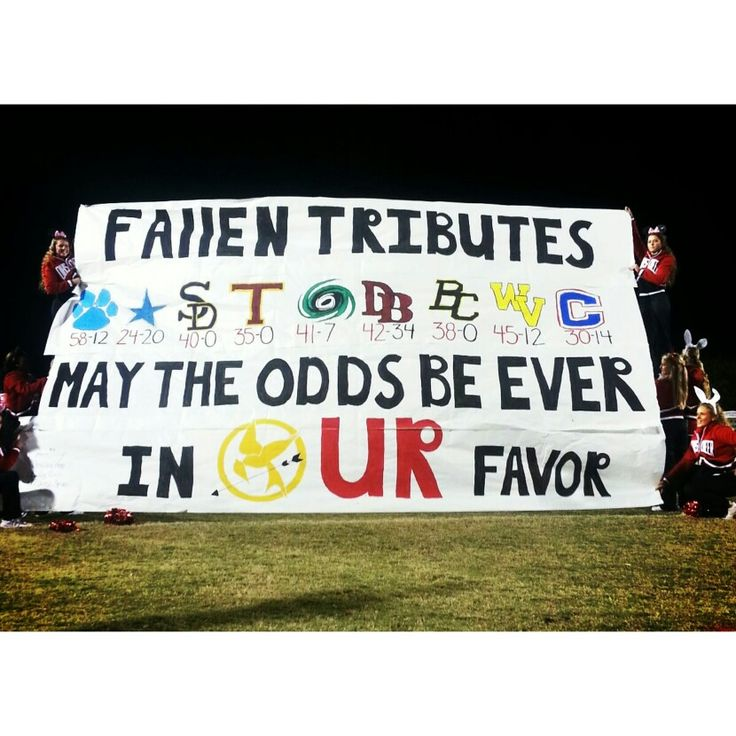 Our school's football run through sign- Hunger Games theme!