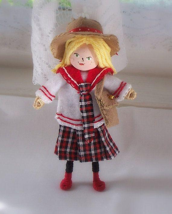 Art Doll Back to School Girl in Uniform Hanging by WhisperingOak