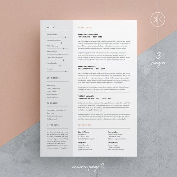 Tamara Resume/CV Template | Word | Photoshop | InDesign | Professional  Resume Design | Cover Letter | Instant Download  Cv Templates Word