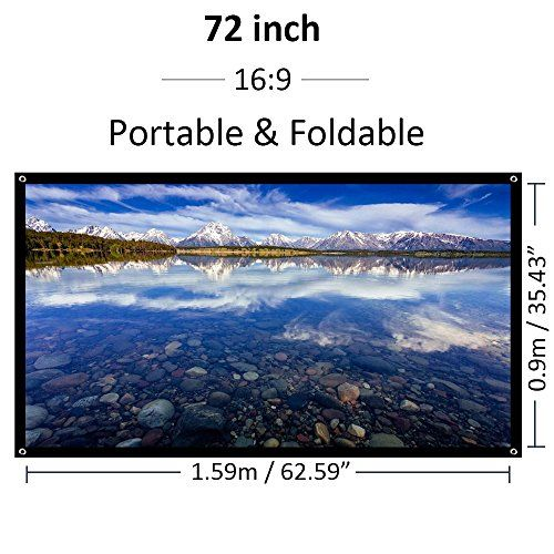 """Outdoor Movie Projector Screen 72 inch 16:9 HD Home Theater Projection Screen Portable - Foldable PVC Fabric Matte White  16:9 HD Screen Format and Diagonal 72"""" Offers 63"""" x 35"""" Viewing Area: Suitable for LED, LCD, or DLP projectors  High Quality White Plastic Material: This durable matt whiter surface is the premier choice when ambient light is controllable. It diffuses projected light uniformly, and you will find a perfect visual enjoyment with optimal image and color reproduction  C..."""