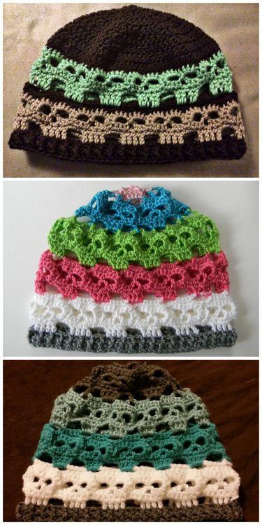 DIY Crochet Skulls' Hat $2 Pattern by Spider Mambo on...