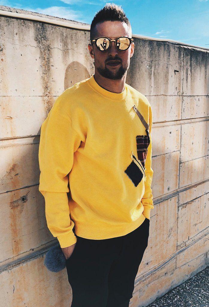 !PRE ORDER ! Yellow UNISEX Handmade Sweatshirt - Men