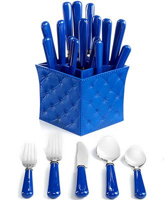 Grab and go. Great for outdoor dining and kids' tables everywhere, the Provence flatware set boasts fun royal blue handles and a coordinating caddy. It also complements QSquared Victorian dinnerware.