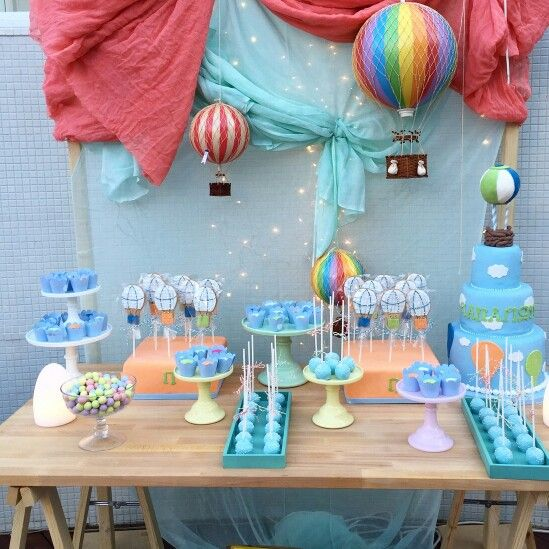 Hot air balloon themed dessert table for a lovely baptism www.rpsevents.gr