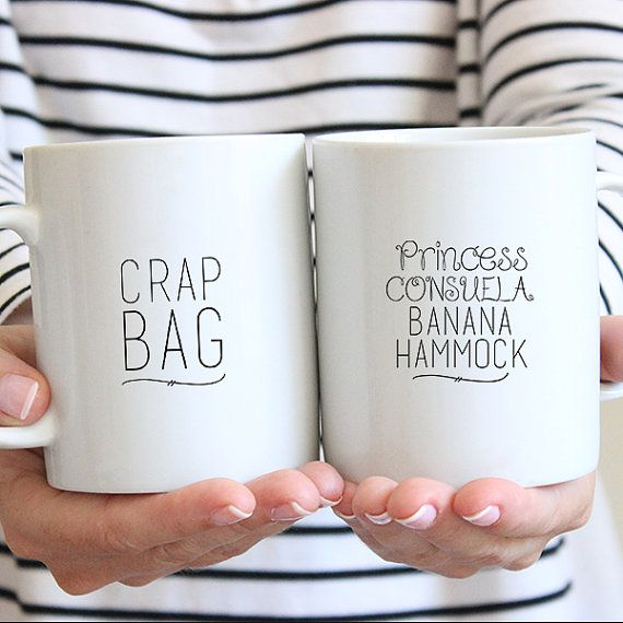 Our cute Princess Consuela Banana Hammock & Crap Bag Ceramic Mug Gift Set, is a perfect couples gift, whether for an engagement, a wedding, an anniversary, or a house warming, and whether they like tea or coffee... its sure to put a smile on everyones face.  Our dishwasher and microwave safe ceramic mugs, are created using our own professional equipment. We use a special ink that is fused into the glaze of the mug with our industrial high heat hand press, which allows the image to remain on…