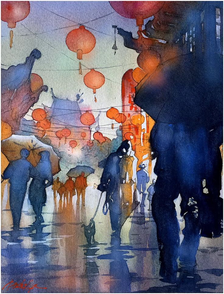 "From the Los Angeles Magazine ""L.A. Stories"" feature ""The 4 Seasons"" Winter - Rainy Night in Chinatown - LA. Thomas W Schaller -Watercolor."