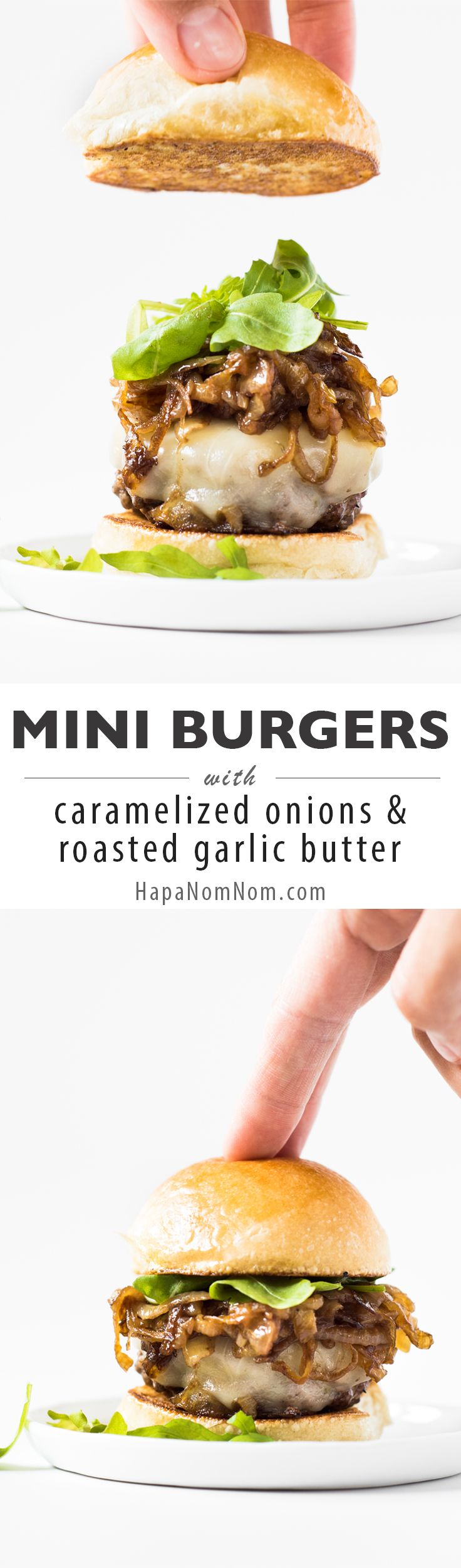 Mini Burgers with Caramelized Onions & Roasted Garlic Butter