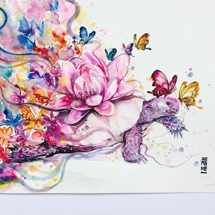 """""""Temptation"""" Watercolor on paper size 297x42cm 300gsm. #watercolor #turtoise…"""