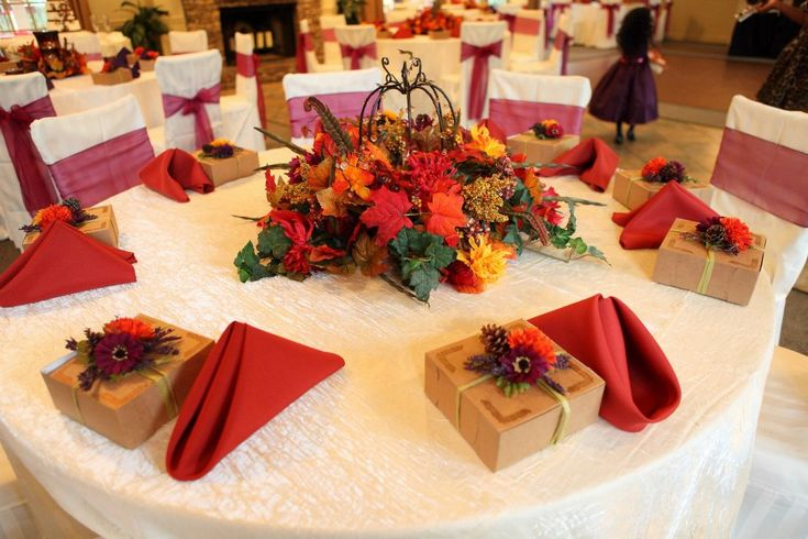 Fall centerpieces are always rich in color fall wedding ideas pinterest receptions - Fall natural decor ideas rich colors ...