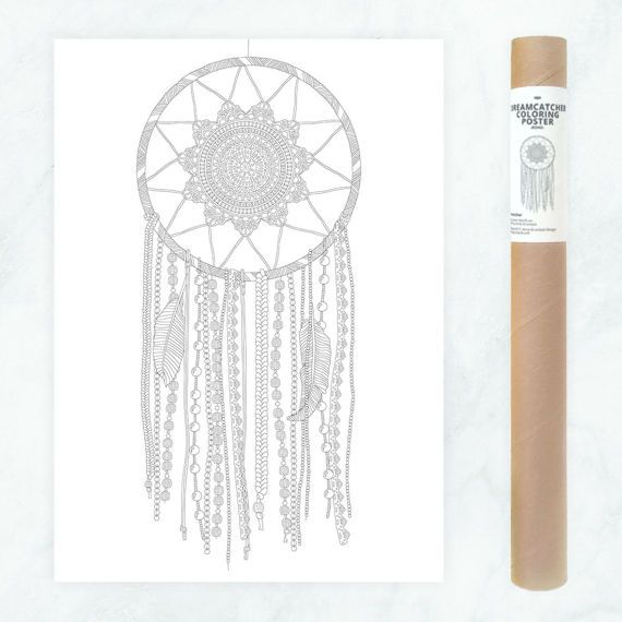 Look at this amazing new item in the AnnaGrundulsDesign shop! Click on the picture for details on ordering :)  dreamcatcher coloring poster - large dream catcher coloring page - DIY dreamcatcher wall art - boho wall decor - boho adult coloring page by AnnaGrundulsDesign