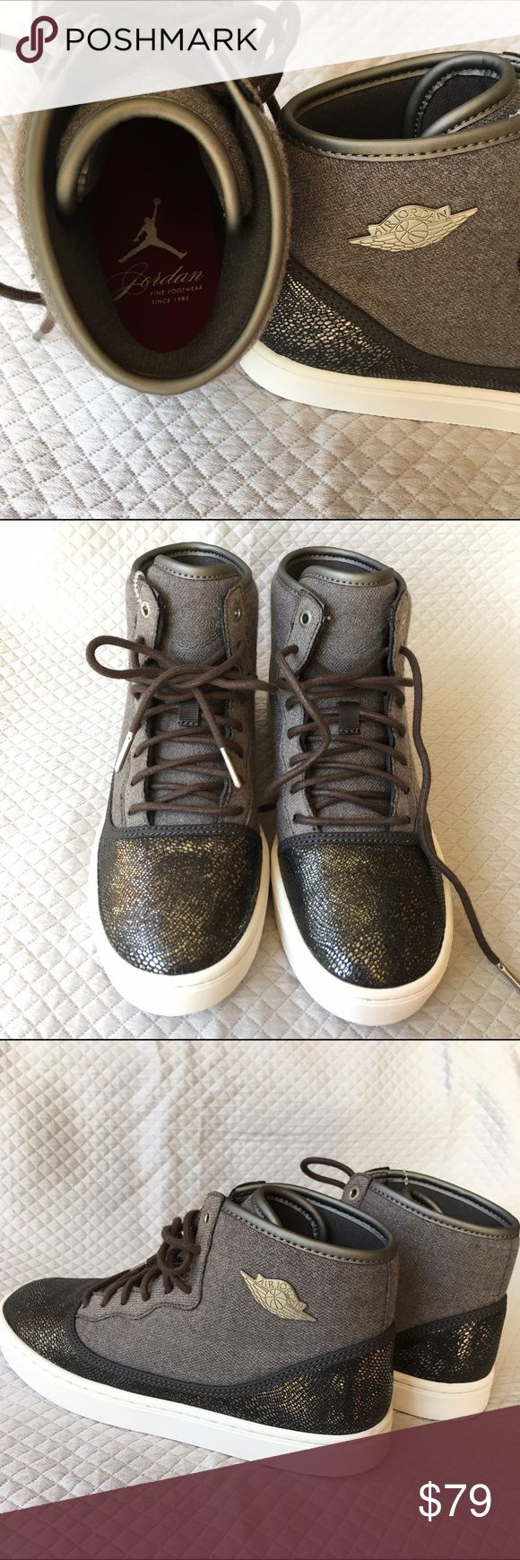Air Jordan size 7.5 women (6Y) Feminine and subtly sparkly Air Jordan high tops. Size is 6 youth which converts to 7.5 women. I am a 7.5 and these fit me perfect (I just don't need another pair of Jordan's!).  Gray colors with gold skin print on the toe section.  They almost look like a mauve color, but it's grey. New - has price tag attached but no box; authentic. Jordan Shoes Athletic Shoes