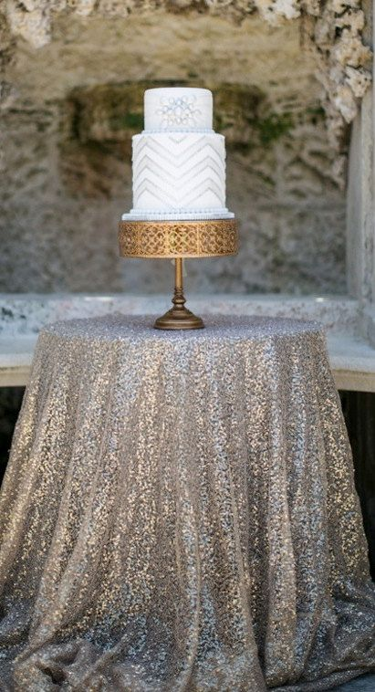 Sweetheart Table Champagne Sequin Cloth Sequin by SparkleSoiree