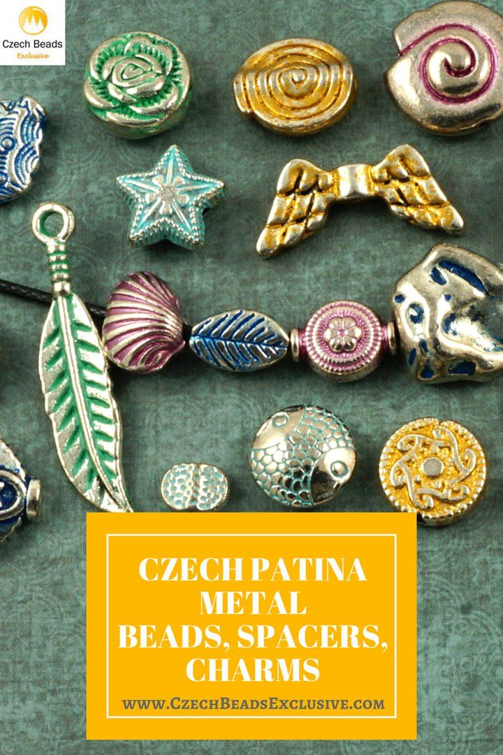 Czech Patina Metal Beads, Spacers, Charms  Different Colors and Shapes! - Buy now with discount! www.CzechBeadsExclusive.com/+czech+patina  Hurry up - sold out very fast! SAVE them! #czechbeadsexclusive #czechbeads