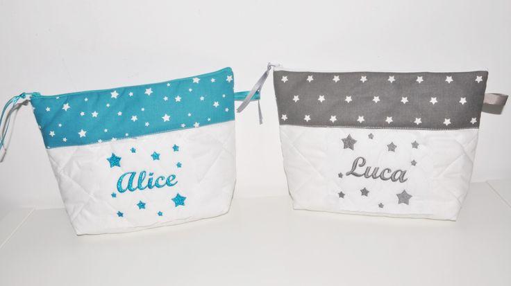 Box cadeau Jumeaux, frère soeur Duo de Trousse de toilette enfant ou bébé ou ado étoiles personnalisée brodée : Trousses par lbm-creation