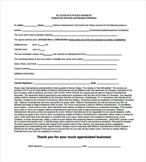 28 Dj Services Contract Template In 2020 Contract Template