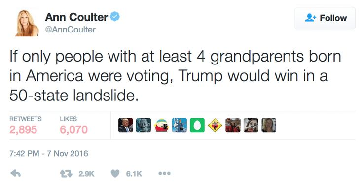 "On Twitter, Coulter revives the ""grandfather clause."""