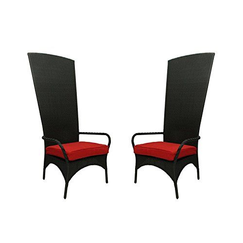 NorthLight Black Resin Wicker Outdoor Patio King Chairs Red Cushions Set Of 2 * Click on the image for additional details. (Amazon affiliate link)