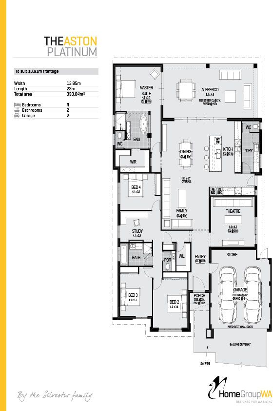 The Aston Platinum Uninterrupted rear views Direct access from the master suite to alfresco Feature tiling and render to front elevation 1200mm wide glazed front entry door 31c high ceilings to Entry foyer, Theatre, Family, Dining, Kitchen and Master suite 31c high recessed ceiling to Alfresco Chef's kitchen including double 600mm wide ovens, induction cooktop, integrated rangehood, dishwasher, coffee machine, microwave and ample high gloss cabinets and drawers for storage..and much much…