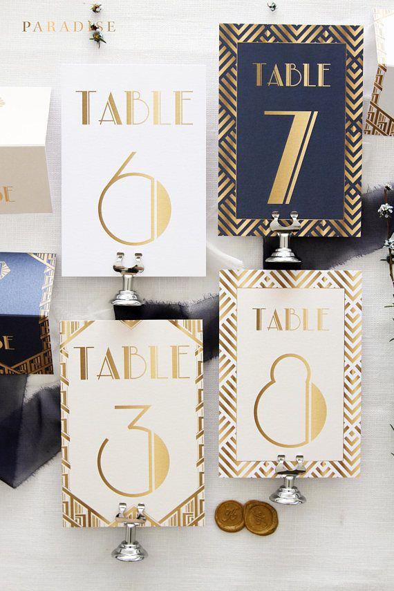 Art Deco Table Numbers Printable Table Numbers Or Printed