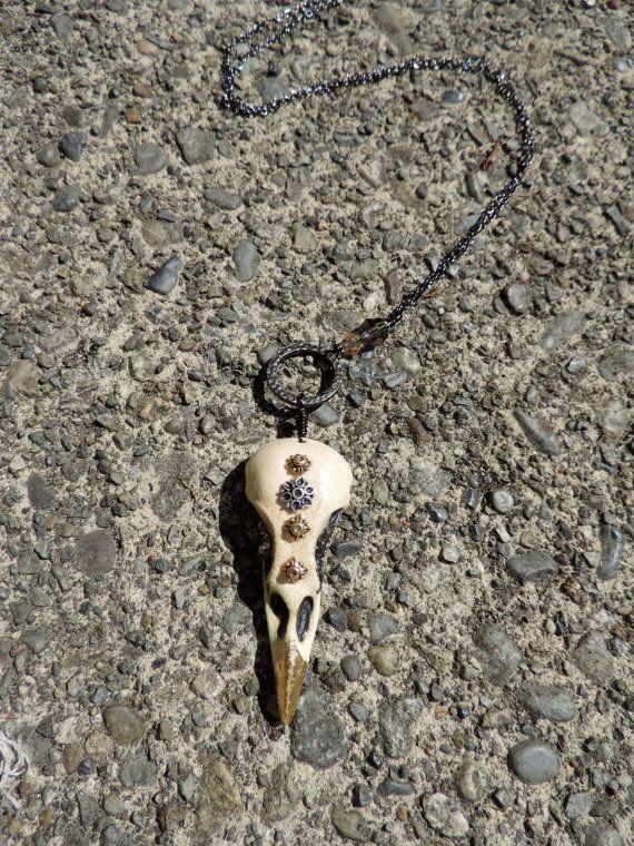 Embellished ceramic bird skull necklace by twinflowersjewelry