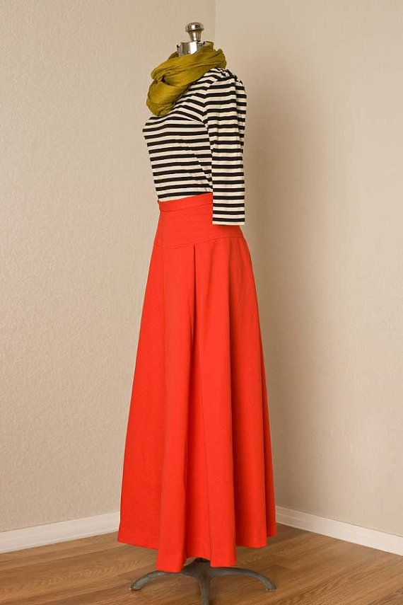 Womens S/M 1970s Vintage High Waisted Red Maxi by vintagesalvation