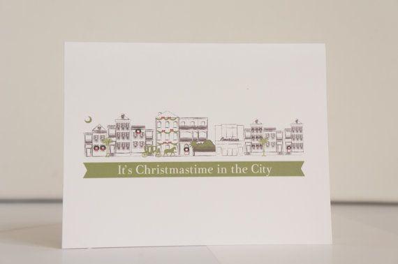 La valeur de temps de Noël dans la ville Charleston carte de Noël papeterie    Grande conception de carte de Noël de Charleston, SC de partager