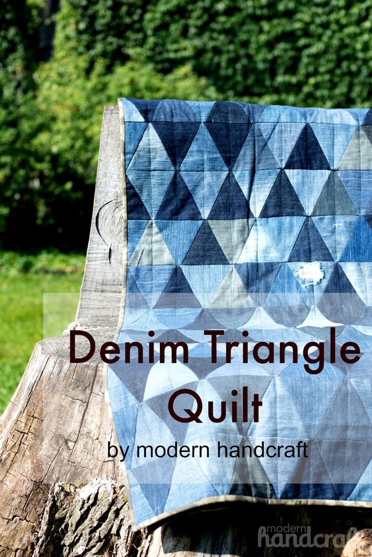 must do this! Reuse a ton of old jeans all at once and make another useful item- a fab quilt. Could even can use the very soft denim whole cloth piece for the back. #ROLdenimlove |Modern Handcraft // Denim Triangle Quilt
