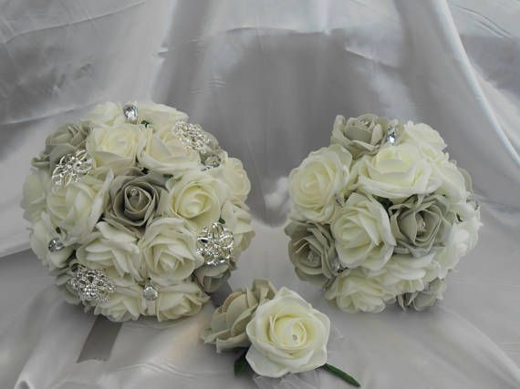wedding bouquet bridal package grey & ivory rose bouquet