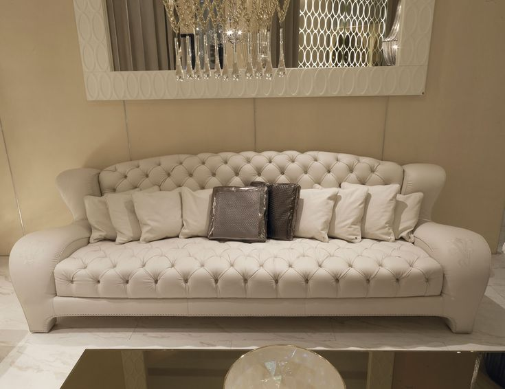Luxury Italian Sofa Upholstered In White Fabric With An Embroidered Seat  And Back. This Luxury