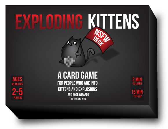 This is the card game that made Kickstarter history Created by Elan Lee (Xbox, ARGs), Matthew Inman (The Oatmeal), and Shane Small (Xbox, Marvel), Exploding Kittens made history when it became the most-backed game in Kickstarter history and the campaign with the most number of backers, ever.  For people who are into kittens and explosions and boob wizards and sometimes butts  Same game mechan