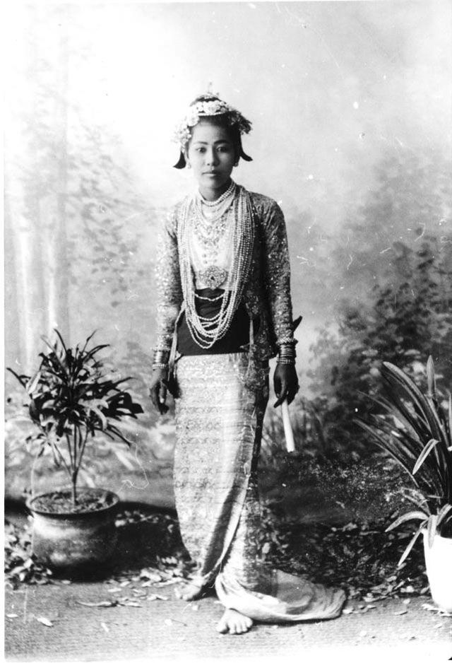 Burmese girl in traditional dress. Date: March 3/4 1903