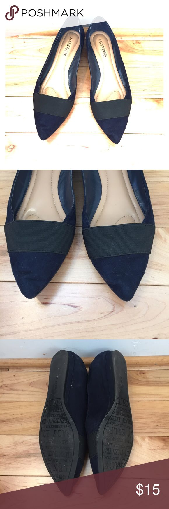 Navy pointed flats w/ black. Career wear Classy navy flats made of a suede like material with black detailing. Great career wear flat. Let me know if you have any questions! Ellen Tracy Shoes Flats & Loafers