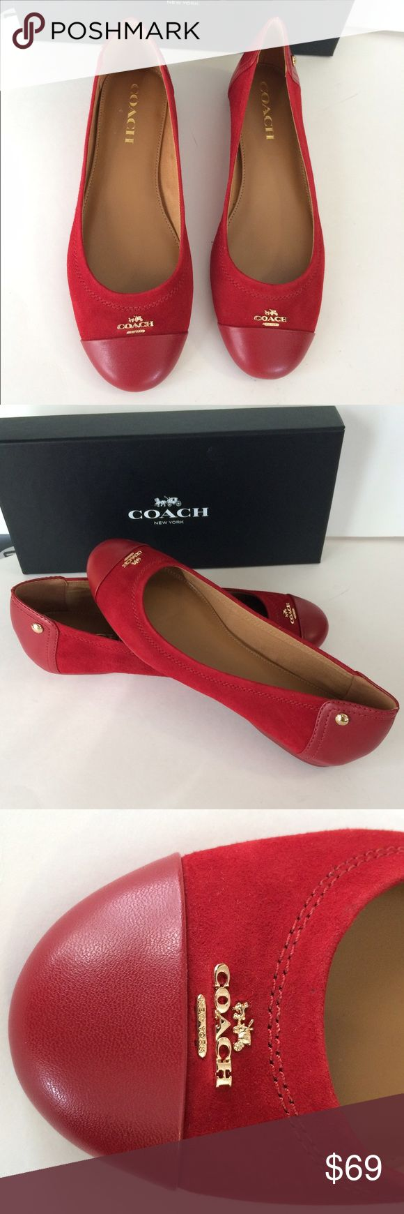 🍒 Coach flat shoes🍒 Comfy, red Leather/suede shoes. Box included Coach Shoes Flats & Loafers