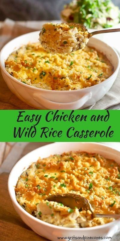 Creamy and flavorful, Easy Chicken and Wild Rice Casserole is full of tender chicken, cheese, water chestnuts, and a blend of seasoned white and wild rice. #makeahead, #casserolerecipes, #chickenrecipes, #chickenandwildricecasserole via @gritspinecones